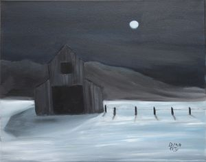 A barn in winter