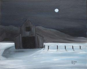 A barn in winter