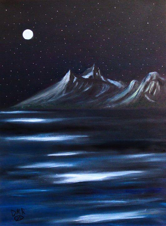 The Tetons in Moonlight - Richersd Art Studios, LLC