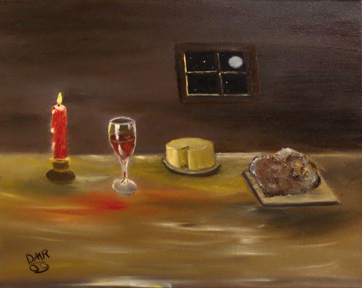 un repas (fromage pain et vin) - Richersd Art Studios, LLC