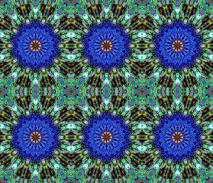 6 blue flowers. Digital abstract - Sofia Goldberg's Gallery