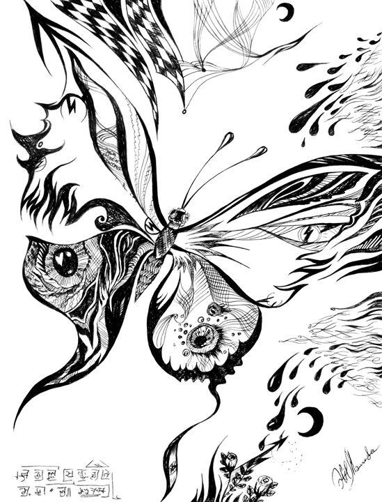 Magical butterfly. Monochrome - Sofia Goldberg's Gallery