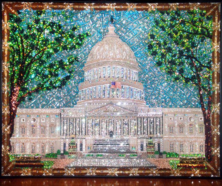 US Capital Building beaded painting - Sofia Goldberg's Gallery
