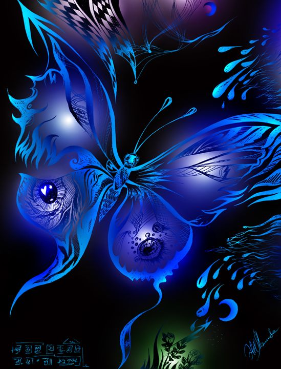 Blue butterfly, magical shine - Sofia Goldberg's Gallery