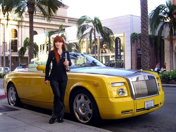 Sofia Goldberg & yellow Rolls Royce - Sofia Goldberg's Gallery