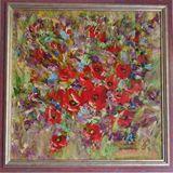 50X50cm., Flowers, canvas, oil, 2012