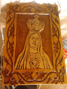 Our Lady of Fatima carved by hand