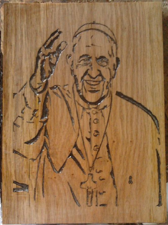 Pope francisco carved by hand - wooden notch handmade
