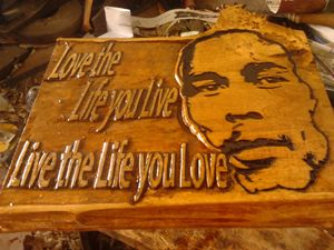 Bob Marley carved by hand with phra