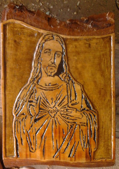 Jesus Christ carved by hand - wooden notch handmade