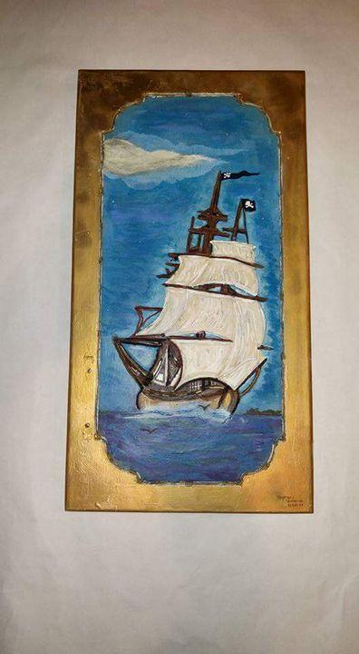 Hancock pirate ship in the ocean - Heartwood Designs