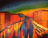 Colorful acrylic painting of Venice