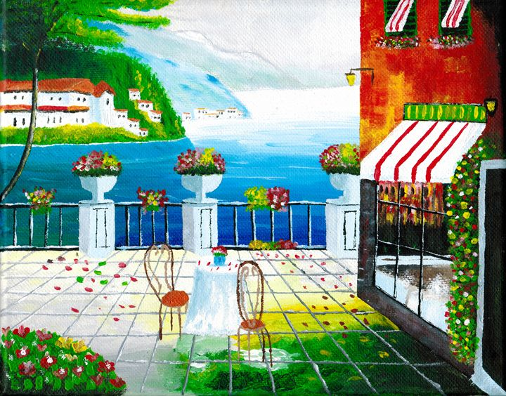 Cafe in Taormina, Sicily, Italy - Brian Sloan Paintings - Il Pennello d'Oro Art