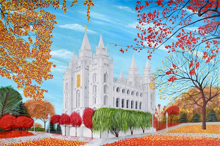 Salt Lake City, Utah Mormon Temple - Brian Sloan Paintings - Il Pennello d'Oro Art