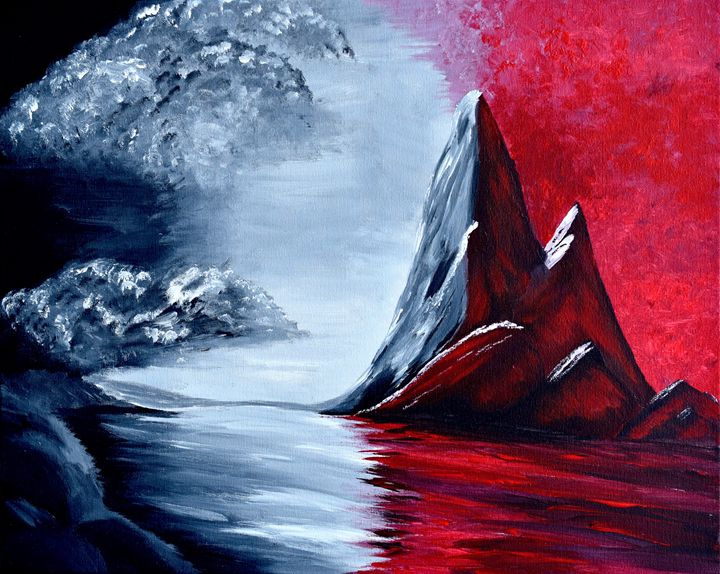 Red Oblivion Acrylic Painting - Brian Sloan Paintings - Il Pennello d'Oro Art