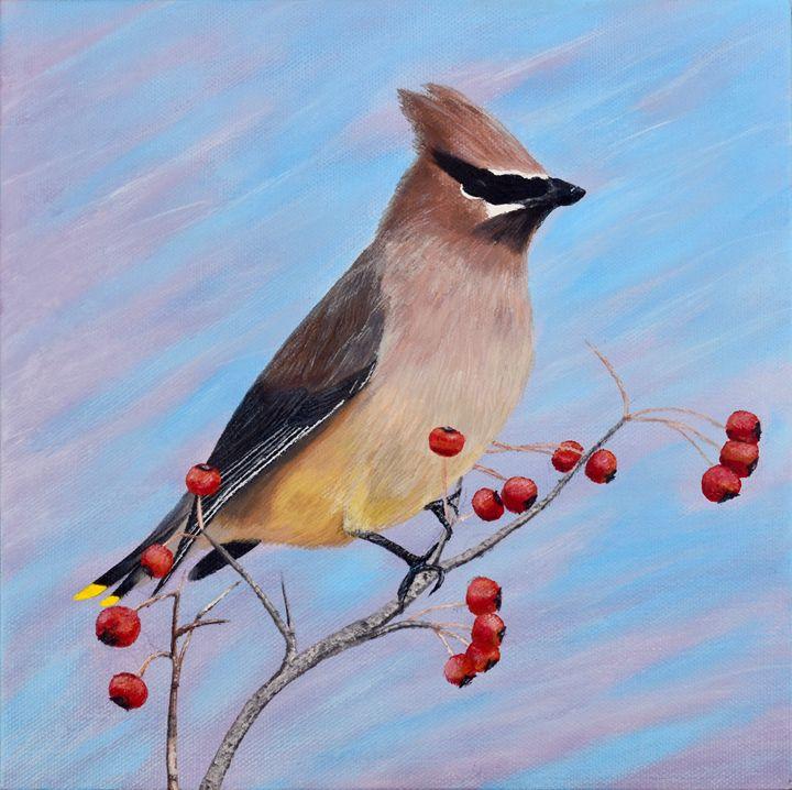 Cedar Waxwing in a Tree - Brian Sloan Paintings - Il Pennello d'Oro Art