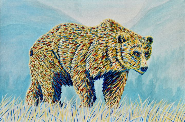 Colorful Bear in the Grass - Brian Sloan Paintings - Il Pennello d'Oro Art