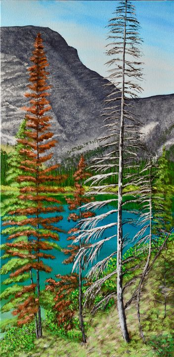 Bertha Lake, Waterton - Brian Sloan Paintings - Il Pennello d'Oro Art