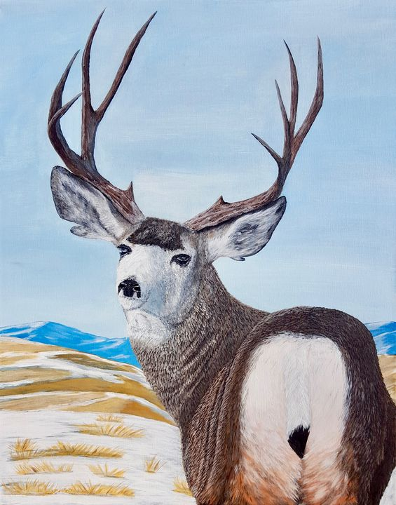 Mule Deer in the Prairies - Brian Sloan Paintings - Il Pennello d'Oro Art