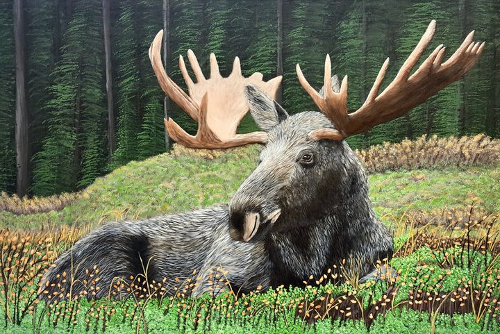 Moose in the Forest - Brian Sloan Paintings - Il Pennello d'Oro Art