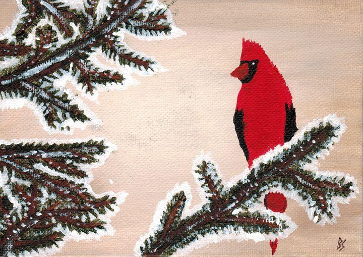 Il cardinale invernale - Brian Sloan Paintings - Il Pennello d'Oro Art