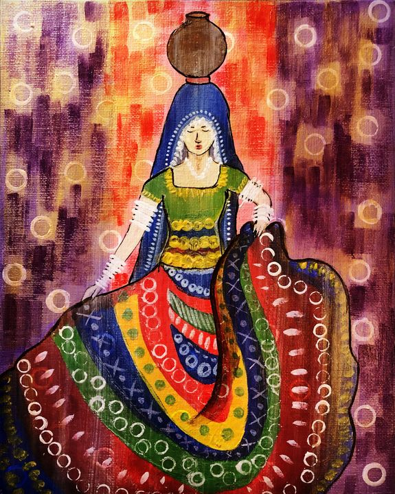 Indian Rajasthani women painting - Prati Art House