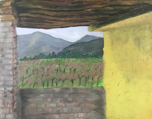 Orchard view (oil on hardboard)