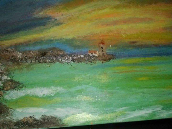 Sunset on the beach - Unique art Carla Verdespina Hodge