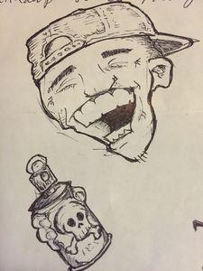 Pen Sketch of a Grafitti Artist