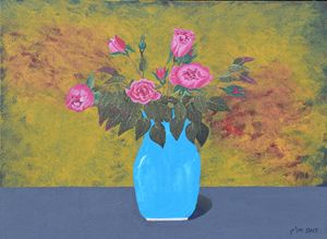 Pink Roses in a Blue Pot - braum's work