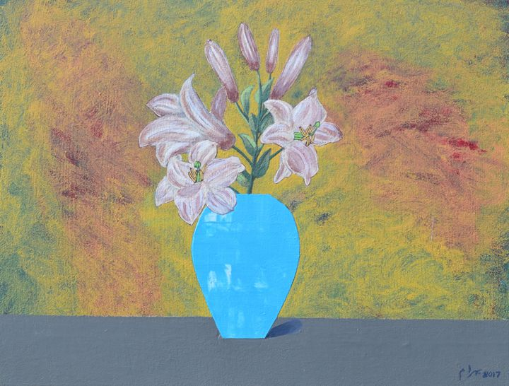 Lilies in a Turquoise Blue Vase - braum's work
