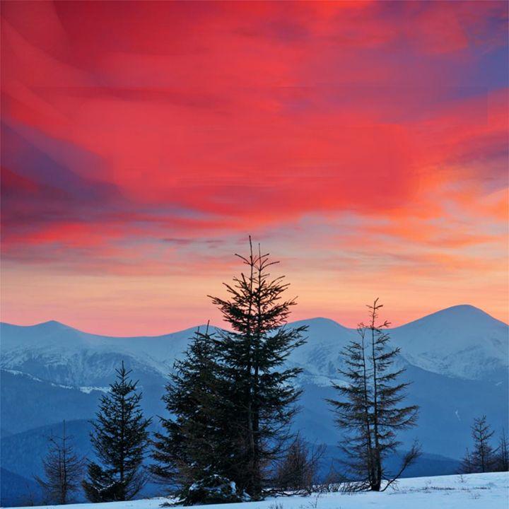 Mountains Under Red Sky - KnKSTUDIO