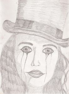 Sad female clown