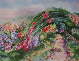 Watercolor of Monet's garden