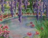 Watercolor print of Monet's garden