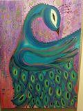 Original peacock acrylic painting