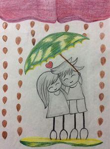 Cute couple in rain