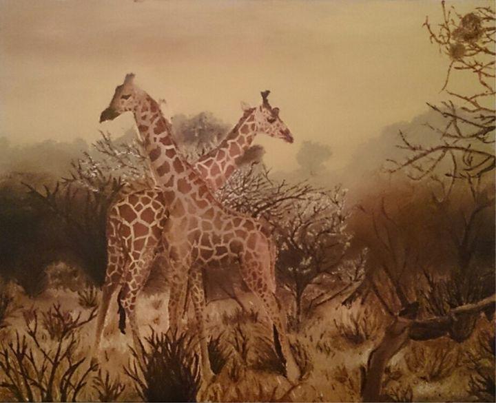 Giraffes in Kenya - Acrylic Paintings