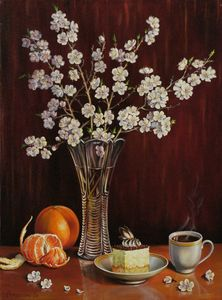 Still life with blooming apr