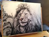28.5x22.5 inch Lion Charcoal