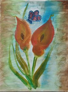 Calla Lilly and a Butterfly