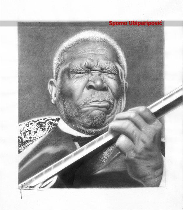 B.B. King pencil portrait - Spomo Artwork