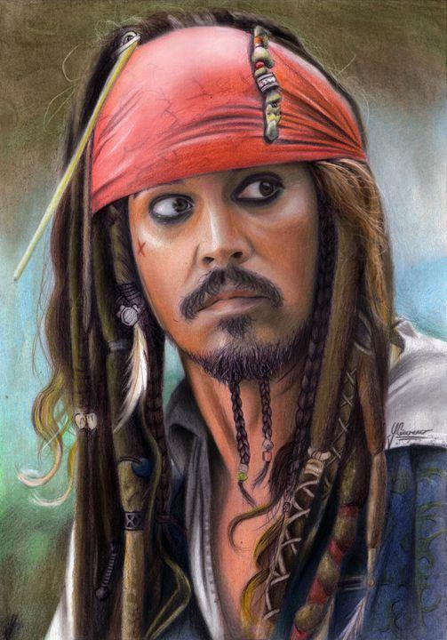 Captain Jack Sparrow pastel portrait - Spomo Artwork