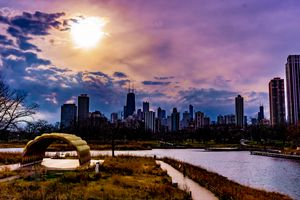 Sun over Chicago from the Zoo