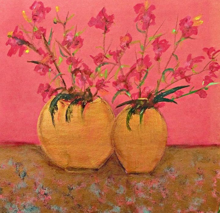 Red Blooms in Golden Vases - Michela's Gallery