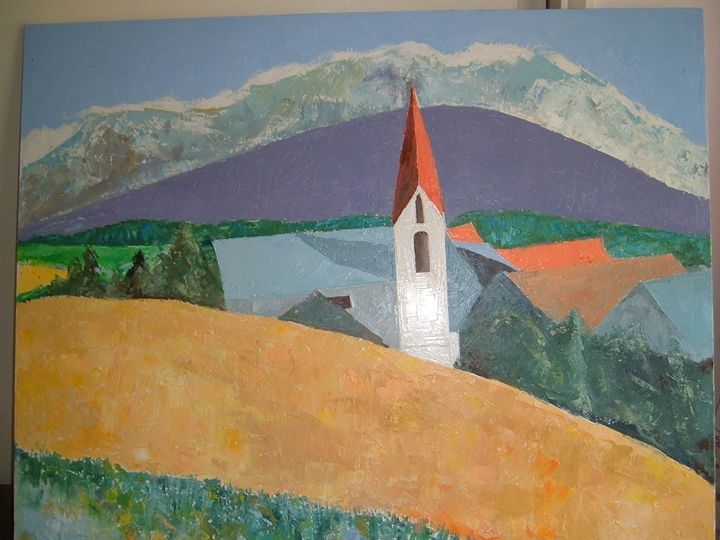 Swiss mountain with church - Riverview Gallery