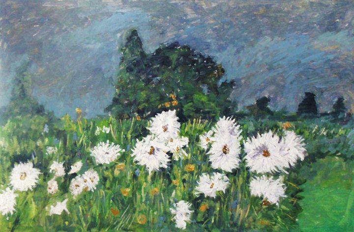 White flowers in garden - Riverview Gallery