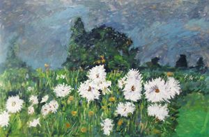 White flowers in garden - Riverview Gallery