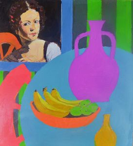 still life girl with jar