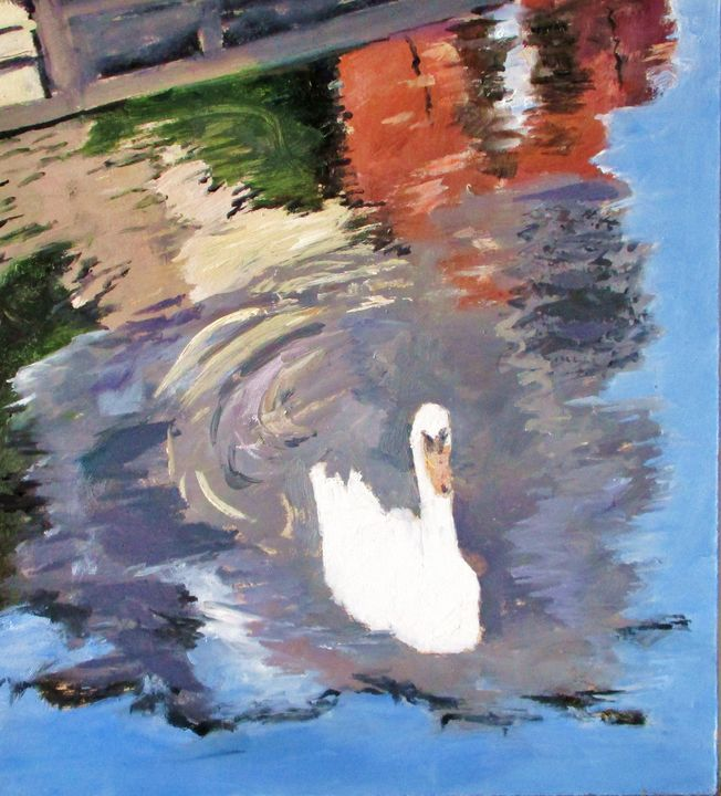 Swan on river - Riverview Gallery